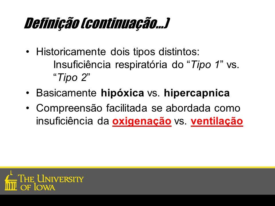 Definição (continuação...) Historicamente dois tipos distintos: Insuficiência respiratória do Tipo 1 vs.Tipo 2 Basicamente hipóxica vs. hipercapnica C