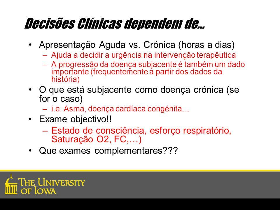 Decisões Clínicas dependem de… Apresentação Aguda vs. Crónica (horas a dias) –Ajuda a decidir a urgência na intervenção terapêutica –A progressão da d