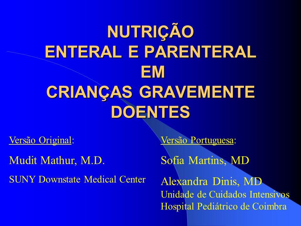NUTRIÇÃO ENTERAL E PARENTERAL EM CRIANÇAS GRAVEMENTE DOENTES Versão Original: Mudit Mathur, M.D. SUNY Downstate Medical Center Versão Portuguesa: Sofi