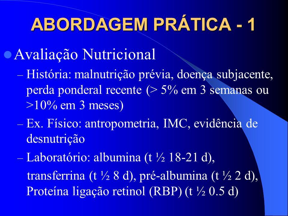 ABORDAGEM PRÁTICA - 1 Avaliação Nutricional – História: malnutrição prévia, doença subjacente, perda ponderal recente (> 5% em 3 semanas ou >10% em 3