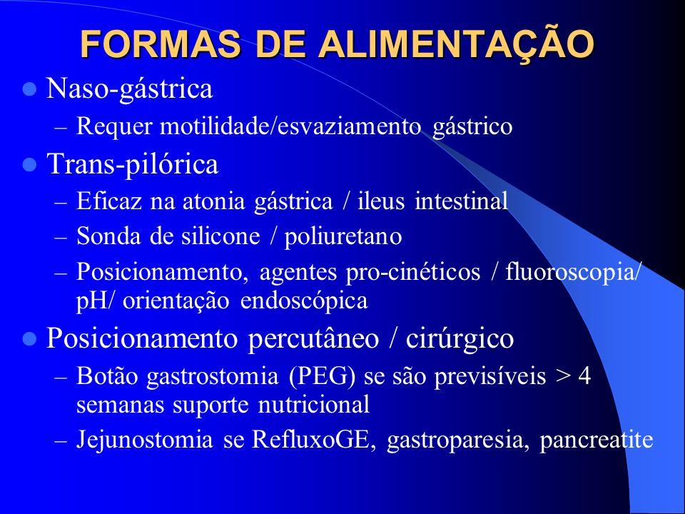 FORMAS DE ALIMENTAÇÃO Naso-gástrica – Requer motilidade/esvaziamento gástrico Trans-pilórica – Eficaz na atonia gástrica / ileus intestinal – Sonda de