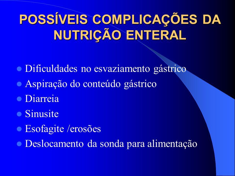 POSSÍVEIS COMPLICAÇÕES DA NUTRIÇÃO ENTERAL Dificuldades no esvaziamento gástrico Aspiração do conteúdo gástrico Diarreia Sinusite Esofagite /erosões D