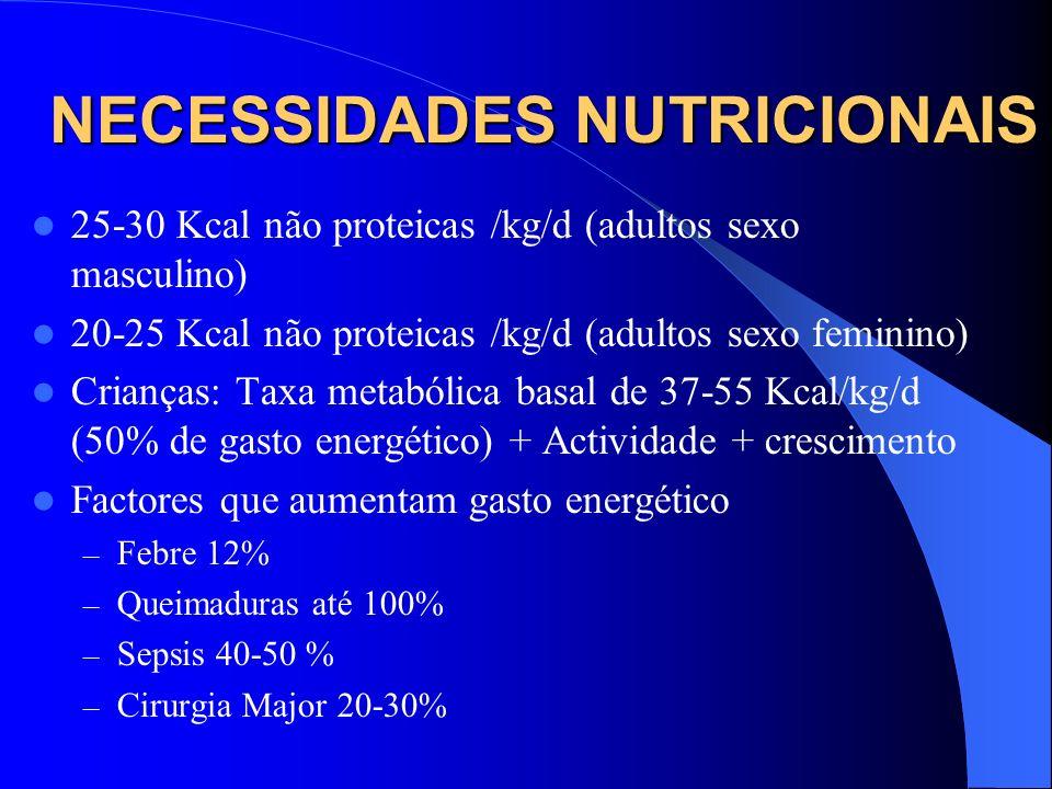 NECESSIDADES NUTRICIONAIS 25-30 Kcal não proteicas /kg/d (adultos sexo masculino) 20-25 Kcal não proteicas /kg/d (adultos sexo feminino) Crianças: Tax