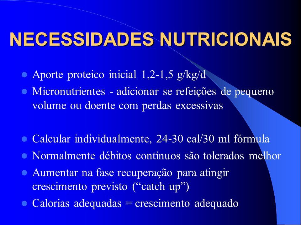 NECESSIDADES NUTRICIONAIS Aporte proteico inicial 1,2-1,5 g/kg/d Micronutrientes - adicionar se refeições de pequeno volume ou doente com perdas exces