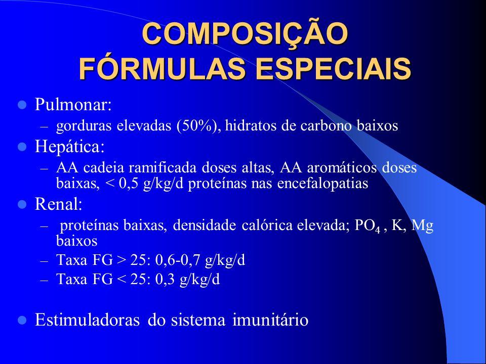 COMPOSIÇÃO FÓRMULAS ESPECIAIS Pulmonar: – gorduras elevadas (50%), hidratos de carbono baixos Hepática: – AA cadeia ramificada doses altas, AA aromáti