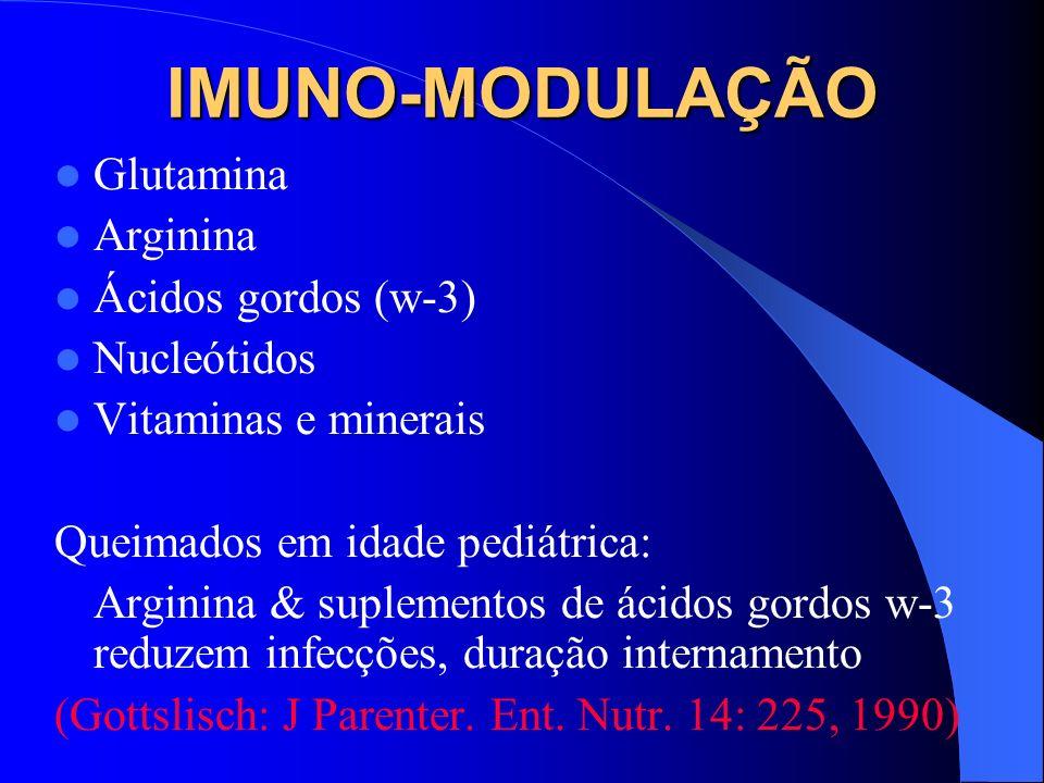 IMUNO-MODULAÇÃO Glutamina Arginina Ácidos gordos (w-3) Nucleótidos Vitaminas e minerais Queimados em idade pediátrica: Arginina & suplementos de ácido