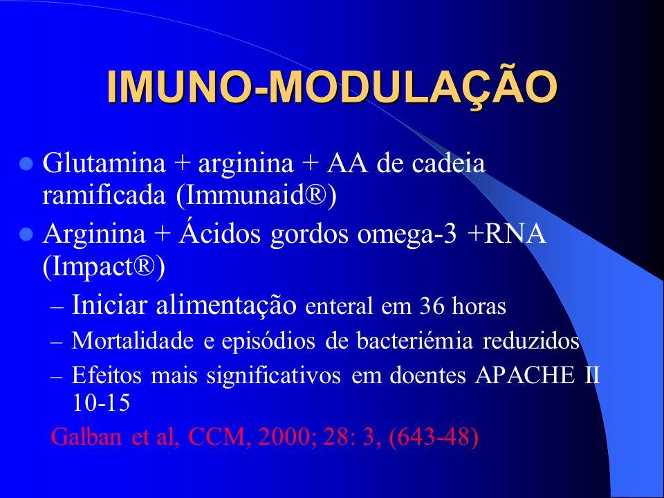 IMUNO-MODULAÇÃO Glutamina + arginina + AA de cadeia ramificada (Immunaid®) Arginina + Ácidos gordos omega-3 +RNA (Impact®) – Iniciar alimentação enter