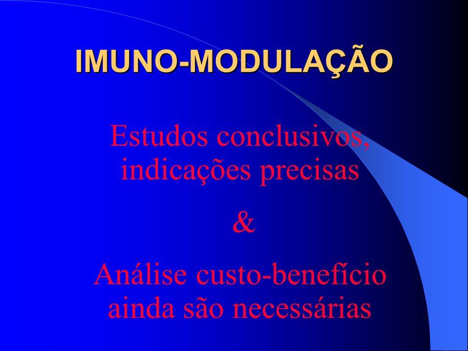 Estudos conclusivos, indicações precisas & Análise custo-benefício ainda são necessárias IMUNO-MODULAÇÃO