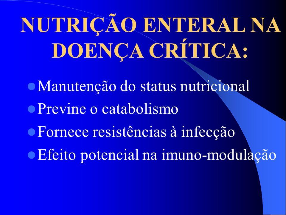 Manutenção do status nutricional Previne o catabolismo Fornece resistências à infecção Efeito potencial na imuno-modulação NUTRIÇÃO ENTERAL NA DOENÇA