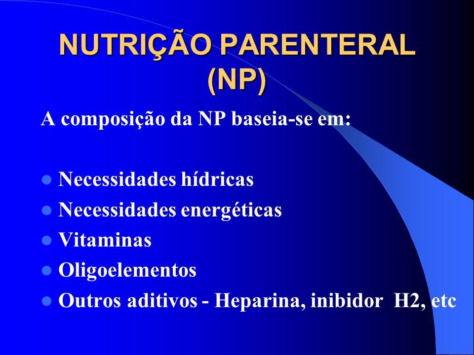 NUTRIÇÃO PARENTERAL (NP) A composição da NP baseia-se em: Necessidades hídricas Necessidades energéticas Vitaminas Oligoelementos Outros aditivos - He