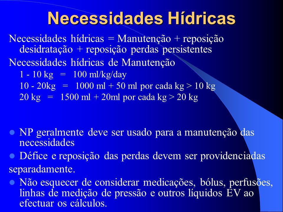 Necessidades Hídricas Necessidades hídricas = Manutenção + reposição desidratação + reposição perdas persistentes Necessidades hídricas de Manutenção