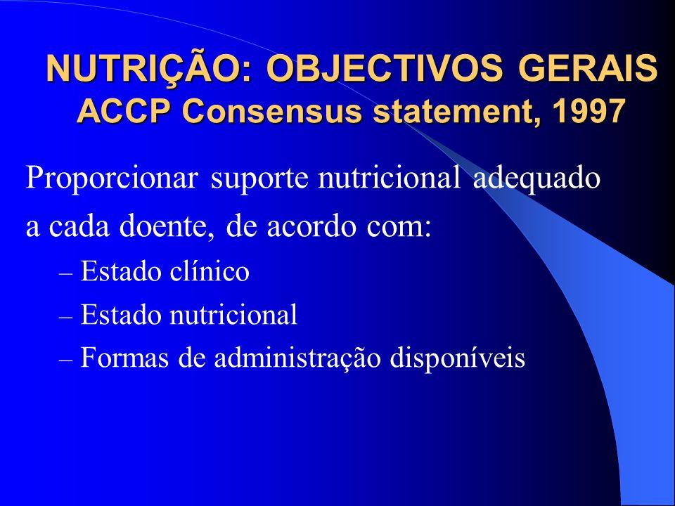 NUTRIÇÃO: OBJECTIVOS GERAIS ACCP Consensus statement, 1997 Proporcionar suporte nutricional adequado a cada doente, de acordo com: – Estado clínico –