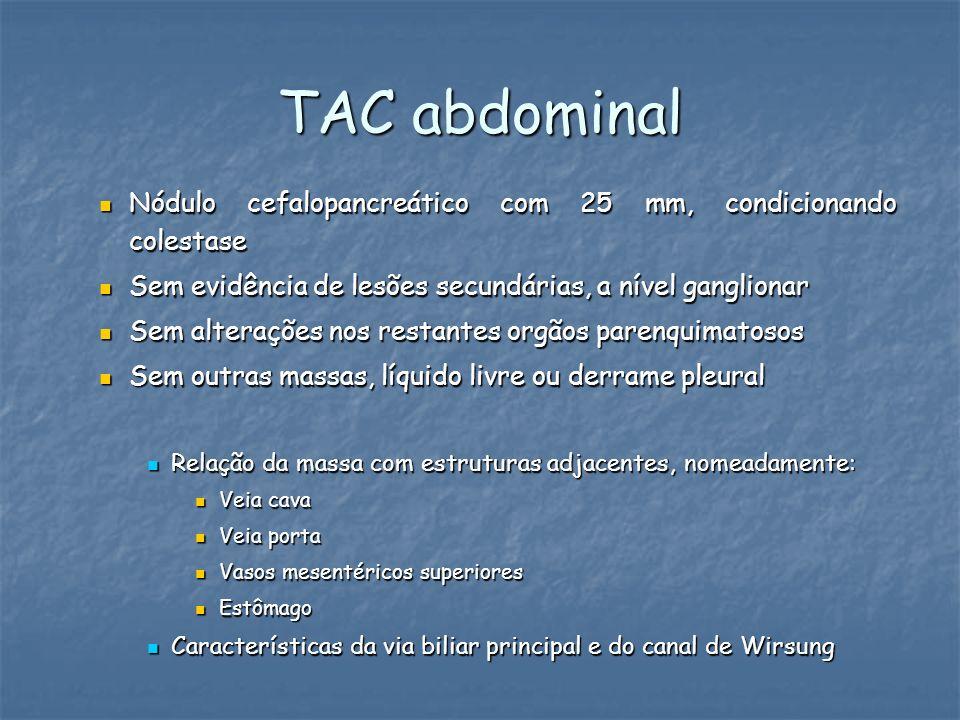 TAC abdominal Nódulo cefalopancreático com 25 mm, condicionando colestase Nódulo cefalopancreático com 25 mm, condicionando colestase Sem evidência de