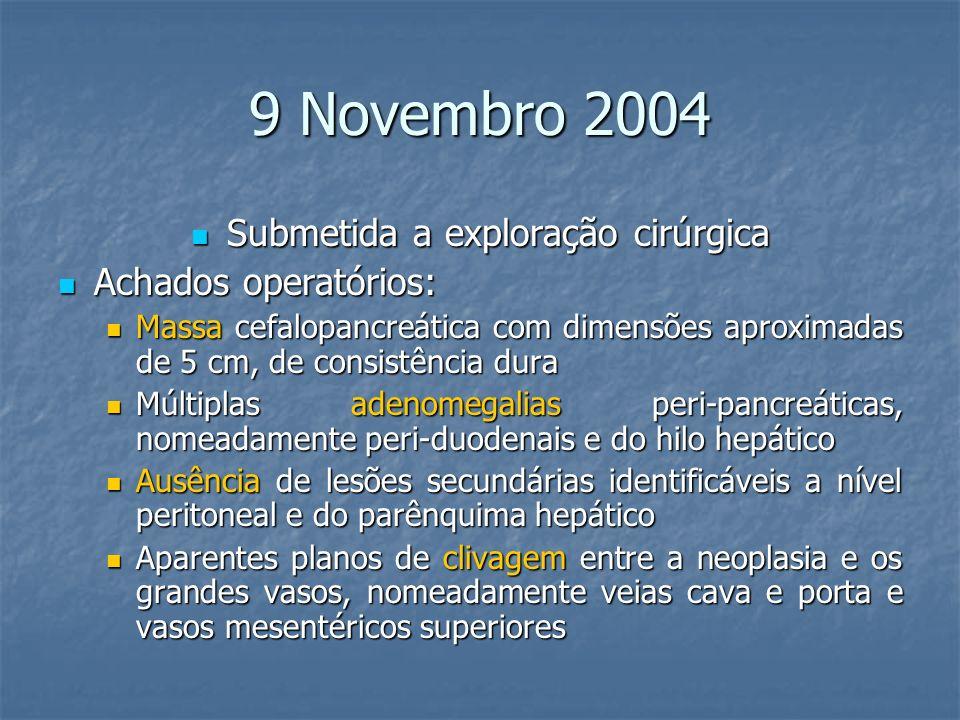 9 Novembro 2004 Submetida a exploração cirúrgica Submetida a exploração cirúrgica Achados operatórios: Achados operatórios: Massa cefalopancreática co