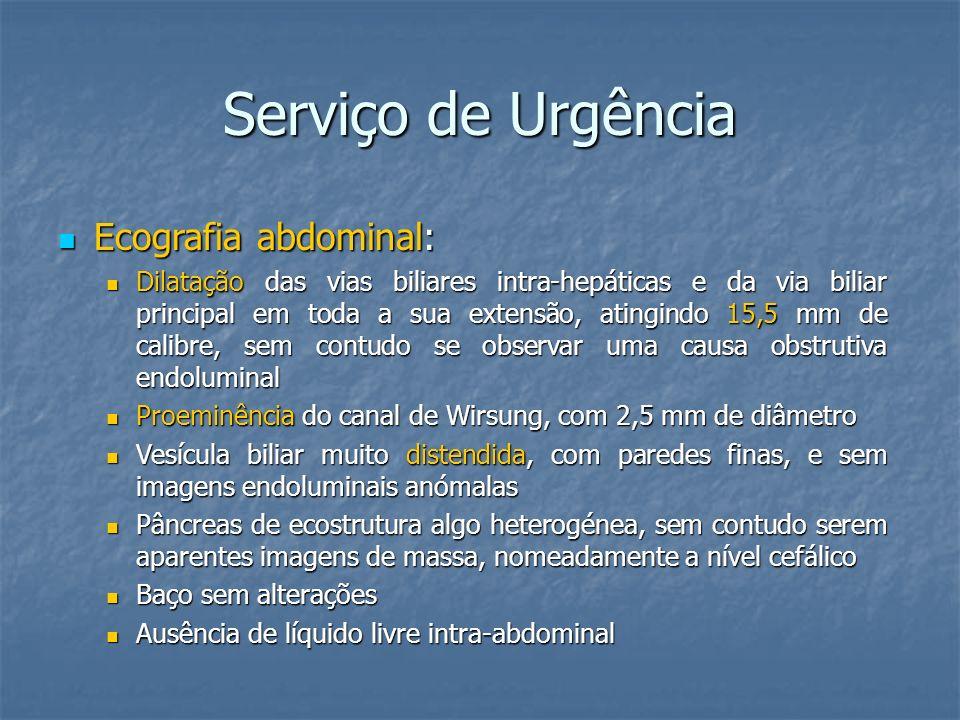 Serviço de Urgência Analiticamente Hgb 12.8 g/dl 12.0-16.0 Leucócitos 7.26 x 10 9 /L 4.0-11.0 Neutrófilos 75.7 % 53.8-69.8 Glicose 3.16 g/L 0.70-1.10 Proteína C reactiva 30.4 mg/L <3.0 Bilirrubina total 50.5 mg/L 2.0-13.0 Bilirrubina directa 33.4 mg/L 0-3 AST 291 UI/L 15-37 ALT 667 UI/L 30-65 Fosfatase alcalina 1123 UI/L 1123 UI/L50-136 Gamaglutamil transferase 1771 UI/L 5-55