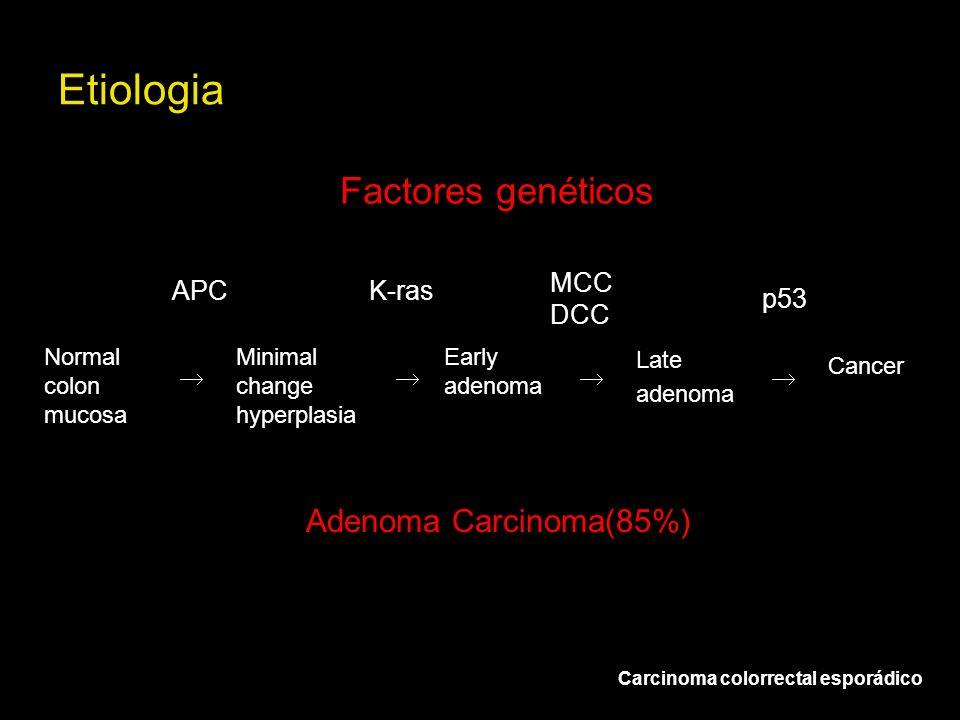 Factores genéticos Adenoma Carcinoma(85%) Normal colon mucosa Minimal change hyperplasia Early adenoma Late adenoma Cancer APCK-ras MCC DCC p53 Etiolo