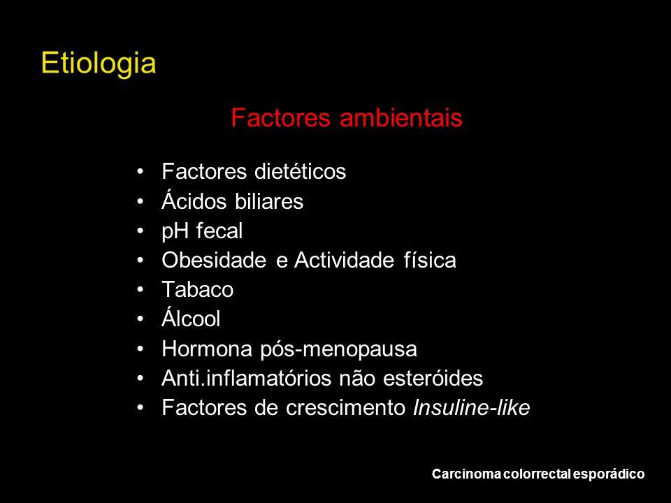 Etiologia Factores dietéticos Ácidos biliares pH fecal Obesidade e Actividade física Tabaco Álcool Hormona pós-menopausa Anti.inflamatórios não esteró