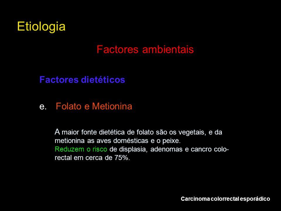 Etiologia Carcinoma colorrectal esporádico Factores ambientais e.Folato e Metionina Factores dietéticos A maior fonte dietética de folato são os veget