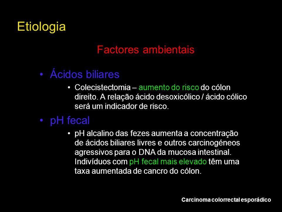 Etiologia Carcinoma colorrectal esporádico Factores ambientais Ácidos biliares Colecistectomia – aumento do risco do cólon direito. A relação ácido de
