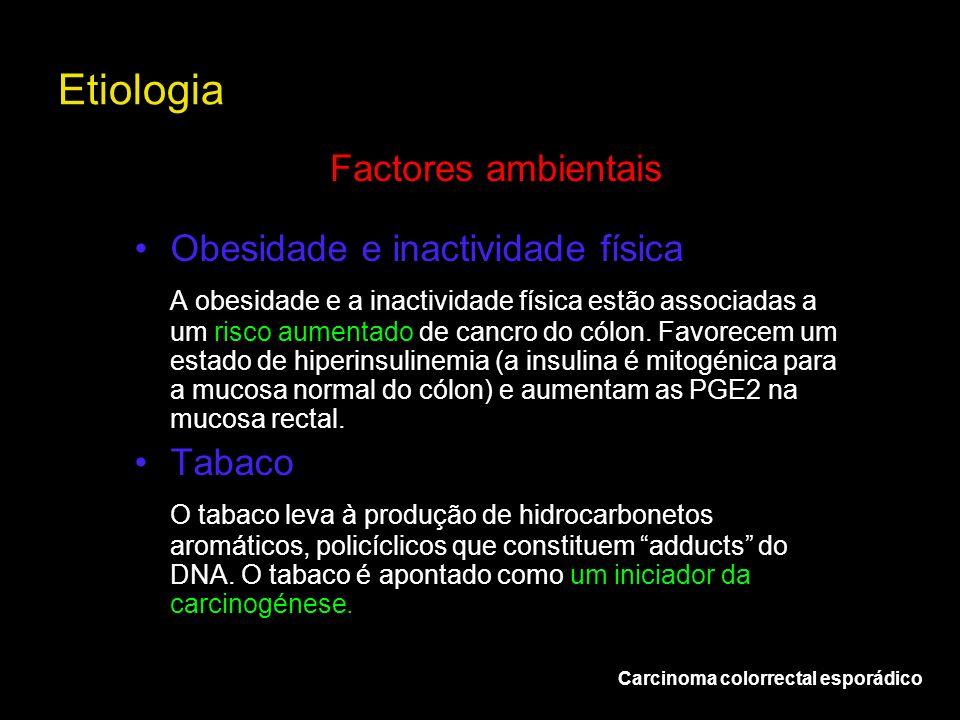 Etiologia Carcinoma colorrectal esporádico Factores ambientais Obesidade e inactividade física A obesidade e a inactividade física estão associadas a