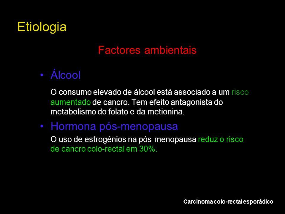 Etiologia Carcinoma colo-rectal esporádico Factores ambientais Álcool O consumo elevado de álcool está associado a um risco aumentado de cancro. Tem e