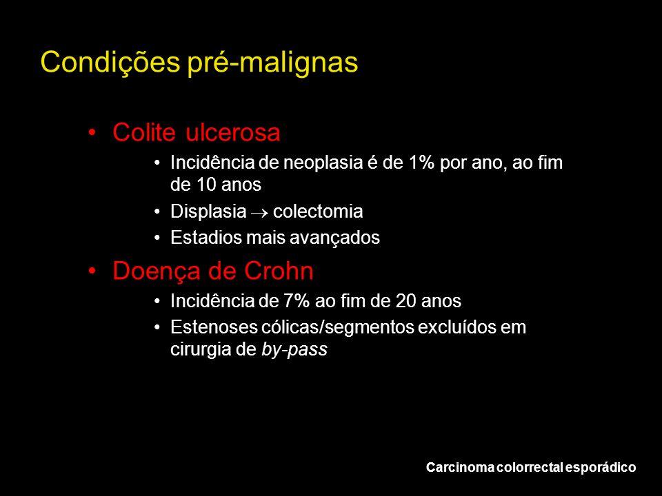 Condições pré-malignas Carcinoma colorrectal esporádico Colite ulcerosa Incidência de neoplasia é de 1% por ano, ao fim de 10 anos Displasia colectomi