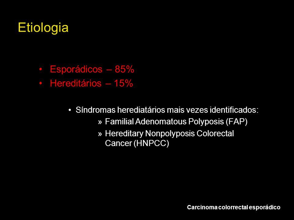 Etiologia Esporádicos – 85% Hereditários – 15% Síndromas herediatários mais vezes identificados: »Familial Adenomatous Polyposis (FAP) »Hereditary Non