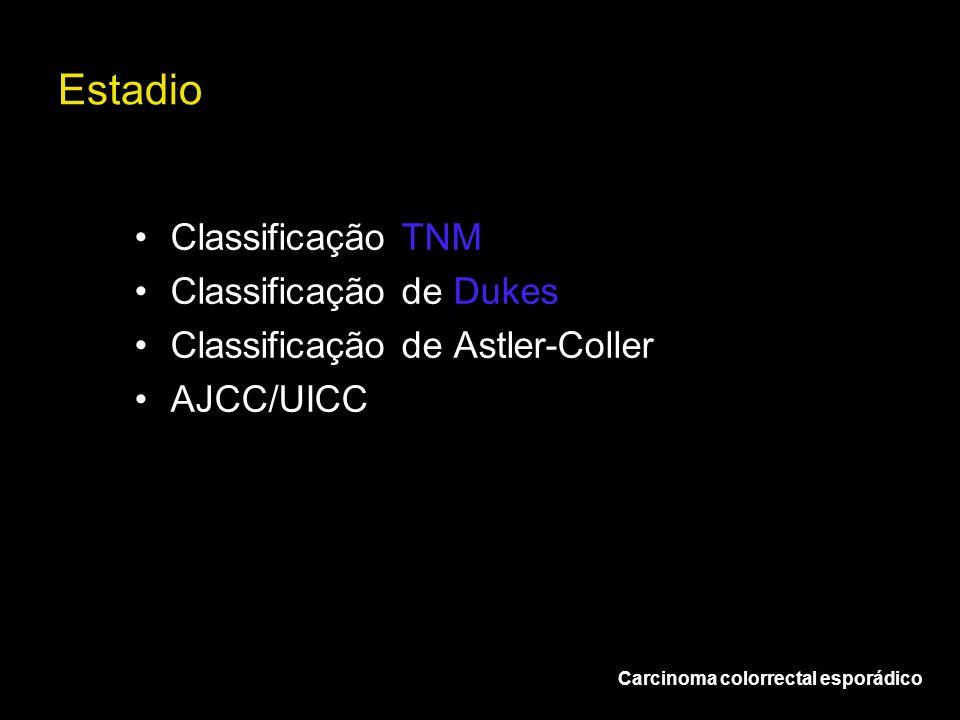 Estadio Carcinoma colorrectal esporádico Classificação TNM Classificação de Dukes Classificação de Astler-Coller AJCC/UICC
