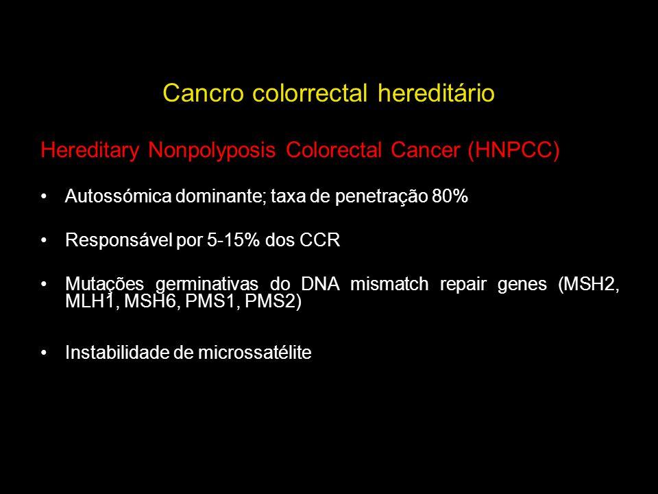 Cancro colorrectal hereditário Hereditary Nonpolyposis Colorectal Cancer (HNPCC) Autossómica dominante; taxa de penetração 80% Responsável por 5-15% d