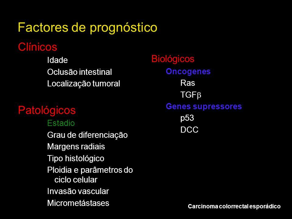 Factores de prognóstico Carcinoma colorrectal esporádico Clínicos Idade Oclusão intestinal Localização tumoral Patológicos Estadio Grau de diferenciaç