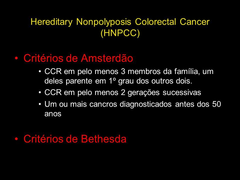 Hereditary Nonpolyposis Colorectal Cancer (HNPCC) Critérios de Amsterdão CCR em pelo menos 3 membros da família, um deles parente em 1º grau dos outro