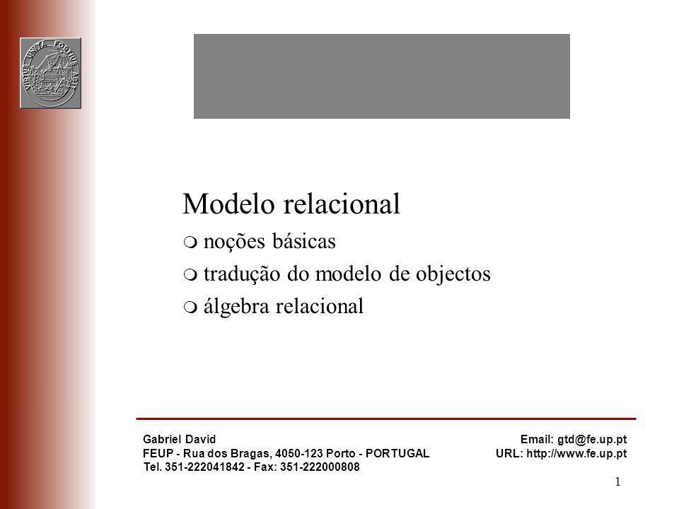 Modelo relacional - 22 Bases de Dados Relacionais m O mapeamento para BD Relacionais não é único q existem duas formas de mapear uma associação q existem três formas de mapear uma generalização q é necessário adicionar detalhes que não existem no modelo de objectos, tais como, chaves primárias e chaves candidatas, se um atributo pode ter valores nulos ou não q obriga à atribuição de um domínio a cada atributo q e obriga a listar os atributos mais frequentemente acedidos m Resumindo q criar um atributo id correspondente a cada classe q classe implementada por relação q associação muitos-para-muitos ou ternária implementada por relação q associação muitos-para-um implementada por atributo extra (id do lado 1) na relação do lado muitos