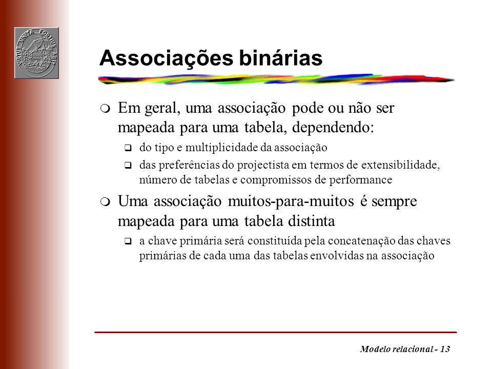 Modelo relacional - 13 Associações binárias m Em geral, uma associação pode ou não ser mapeada para uma tabela, dependendo: q do tipo e multiplicidade