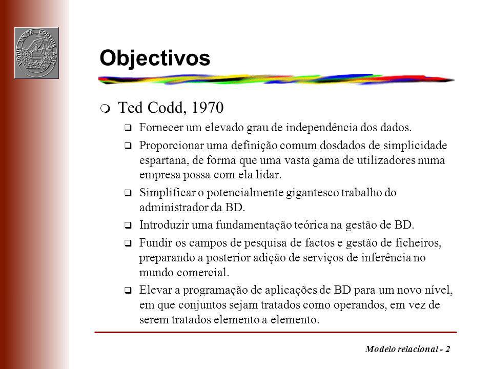 Modelo relacional - 2 Objectivos m Ted Codd, 1970 q Fornecer um elevado grau de independência dos dados. q Proporcionar uma definição comum dosdados d