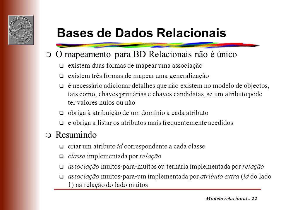 Modelo relacional - 22 Bases de Dados Relacionais m O mapeamento para BD Relacionais não é único q existem duas formas de mapear uma associação q exis