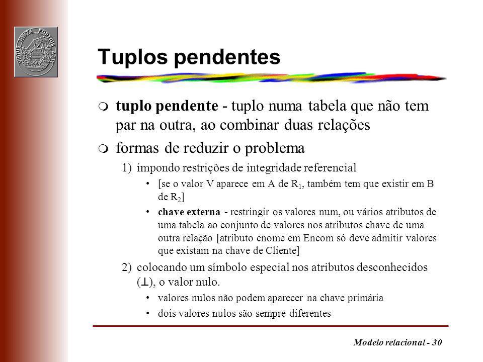 Modelo relacional - 30 Tuplos pendentes m tuplo pendente - tuplo numa tabela que não tem par na outra, ao combinar duas relações m formas de reduzir o