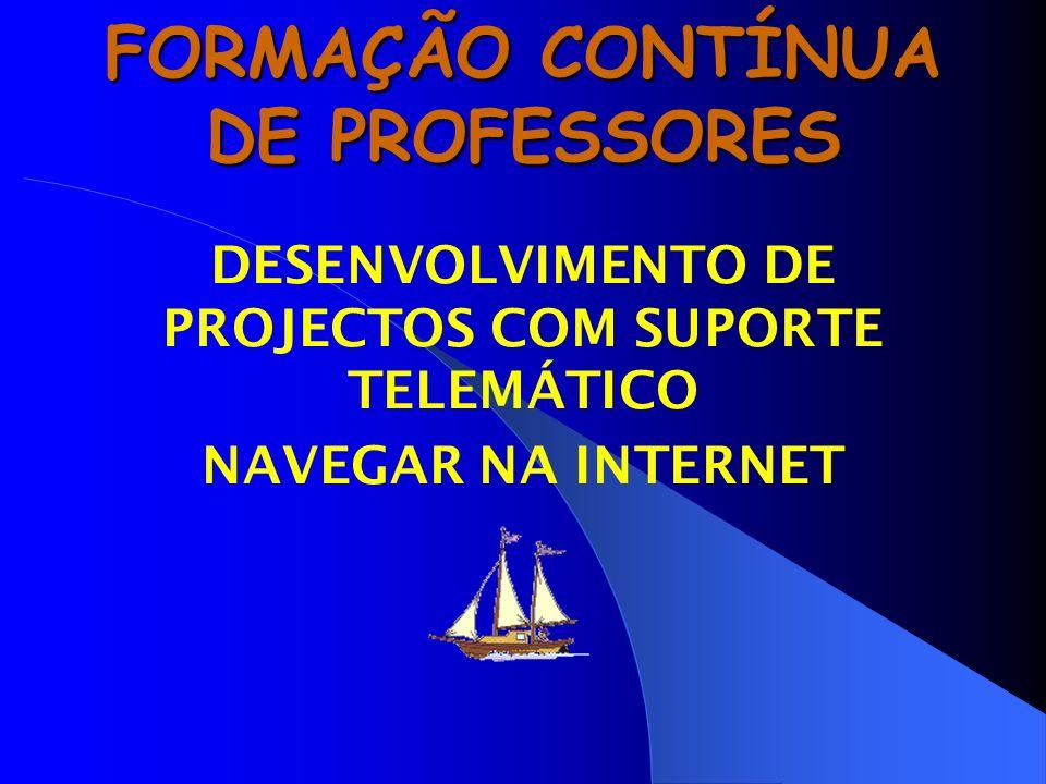 FORMAÇÃO CONTÍNUA DE PROFESSORES DESENVOLVIMENTO DE PROJECTOS COM SUPORTE TELEMÁTICO NAVEGAR NA INTERNET