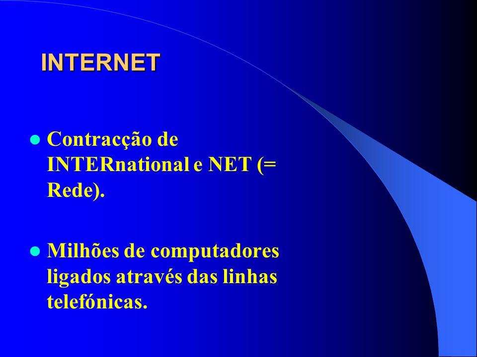 INTERNET Contracção de INTERnational e NET (= Rede). Milhões de computadores ligados através das linhas telefónicas.