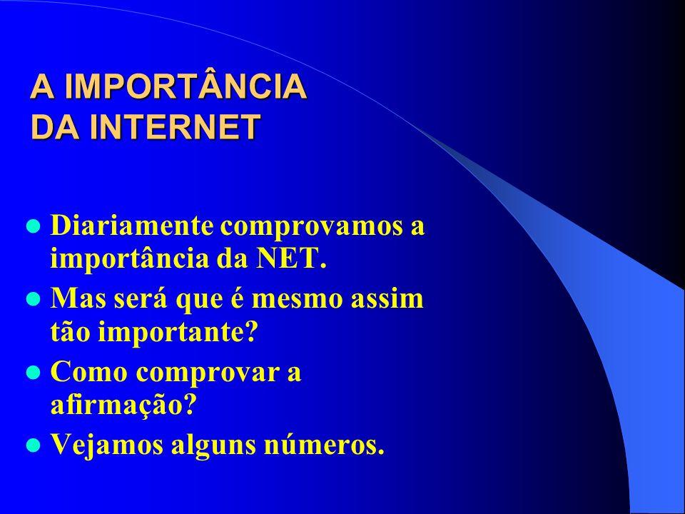 A IMPORTÂNCIA DA INTERNET Diariamente comprovamos a importância da NET. Mas será que é mesmo assim tão importante? Como comprovar a afirmação? Vejamos