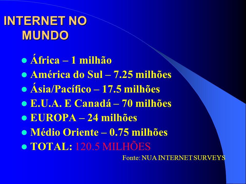 INTERNET NO MUNDO África – 1 milhão América do Sul – 7.25 milhões Ásia/Pacífico – 17.5 milhões E.U.A. E Canadá – 70 milhões EUROPA – 24 milhões Médio