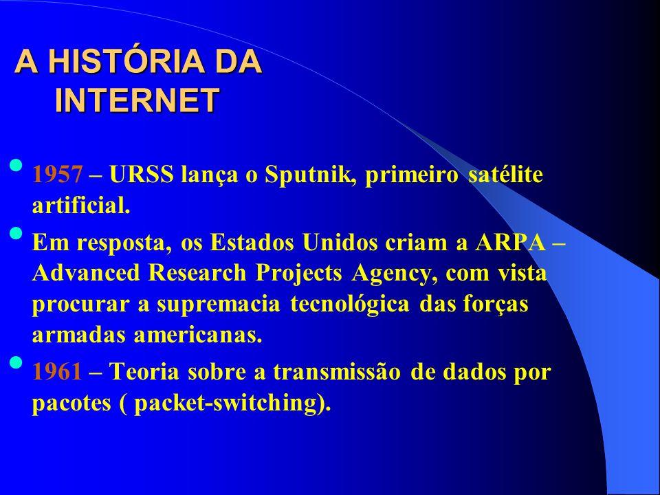 A HISTÓRIA DA INTERNET 1957 – URSS lança o Sputnik, primeiro satélite artificial. Em resposta, os Estados Unidos criam a ARPA – Advanced Research Proj