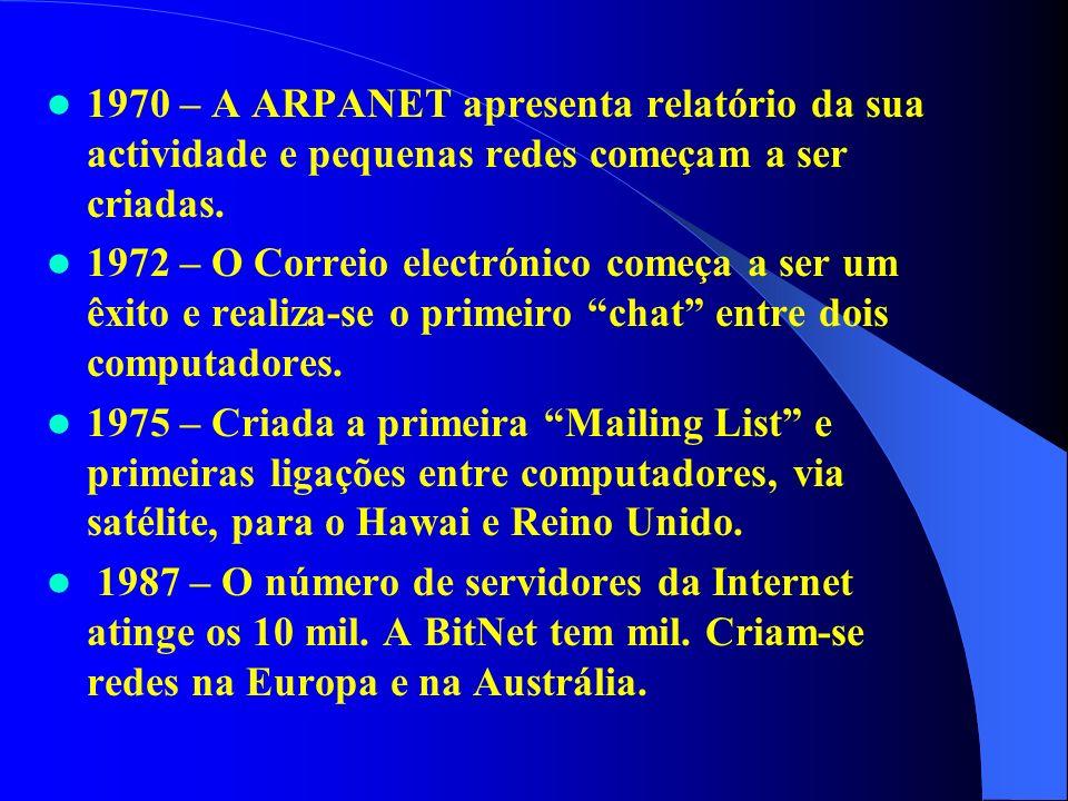 1970 – A ARPANET apresenta relatório da sua actividade e pequenas redes começam a ser criadas. 1972 – O Correio electrónico começa a ser um êxito e re