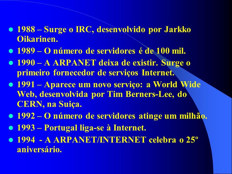 1988 – Surge o IRC, desenvolvido por Jarkko Oikarinen. 1989 – O número de servidores é de 100 mil. 1990 – A ARPANET deixa de existir. Surge o primeiro
