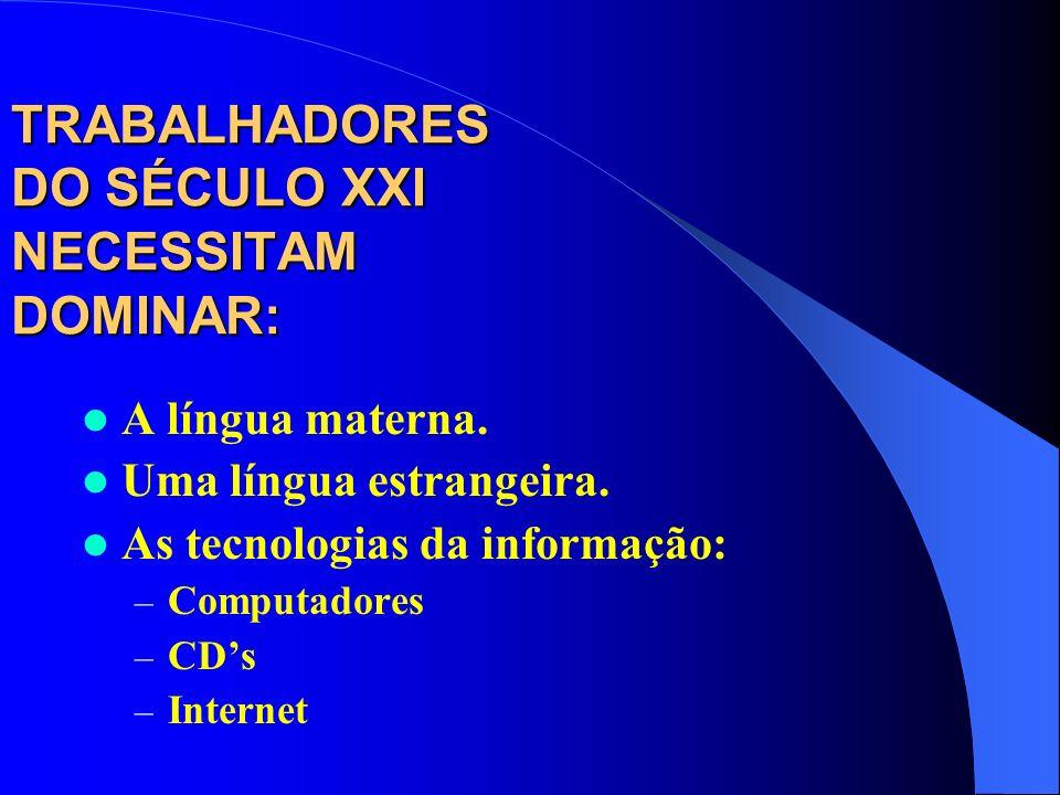 TRABALHADORES DO SÉCULO XXI NECESSITAM DOMINAR: A língua materna. Uma língua estrangeira. As tecnologias da informação: – Computadores – CDs – Interne