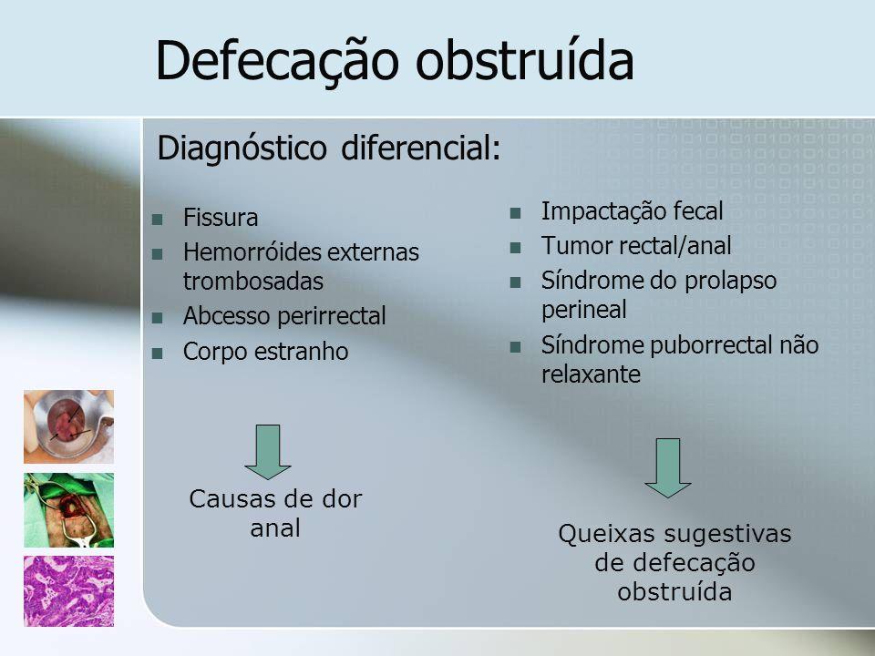 Fissura Hemorróides externas trombosadas Abcesso perirrectal Corpo estranho Impactação fecal Tumor rectal/anal Síndrome do prolapso perineal Síndrome