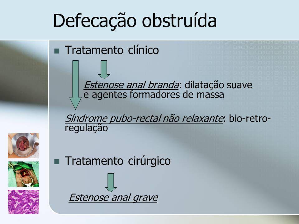 Tratamento clínico Estenose anal branda: dilatação suave e agentes formadores de massa Síndrome pubo-rectal não relaxante: bio-retro- regulação Tratam