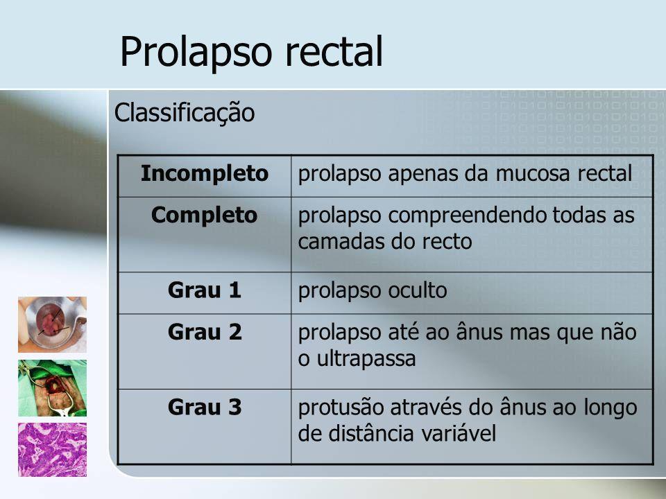 Classificação Incompletoprolapso apenas da mucosa rectal Completoprolapso compreendendo todas as camadas do recto Grau 1prolapso oculto Grau 2prolapso