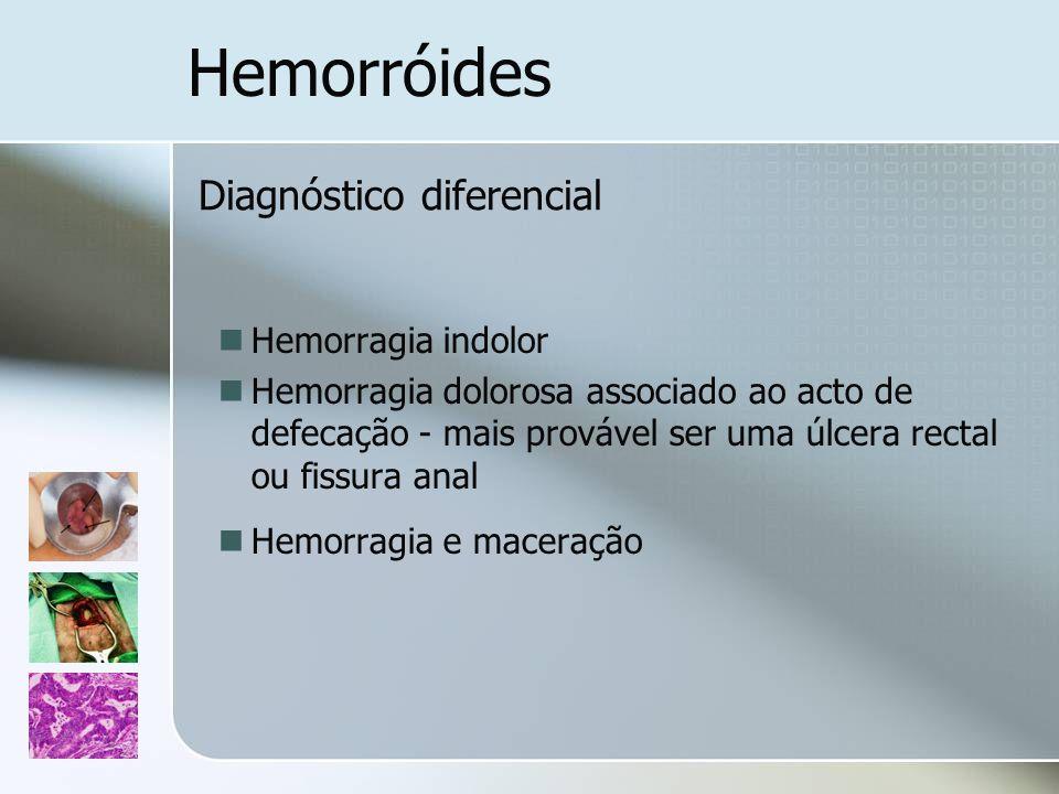 Hemorróides Hemorragia indolor Hemorragia dolorosa associado ao acto de defecação - mais provável ser uma úlcera rectal ou fissura anal Hemorragia e m