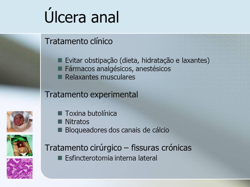 Tratamento clínico Evitar obstipação (dieta, hidratação e laxantes) Fármacos analgésicos, anestésicos Relaxantes musculares Tratamento experimental To