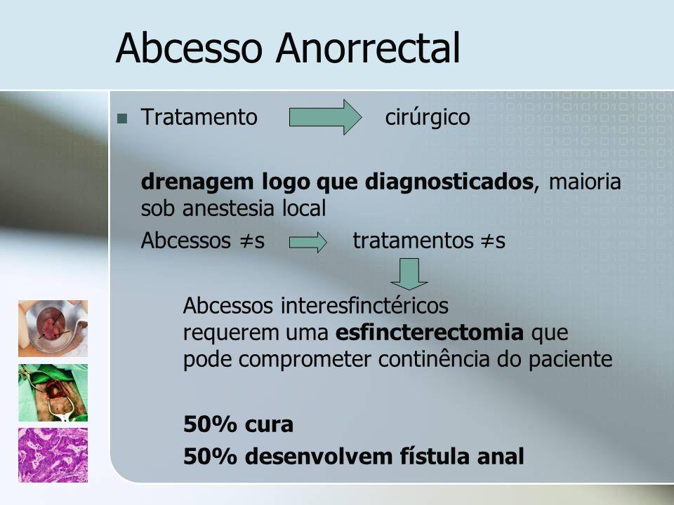 Abcesso Anorrectal Tratamentocirúrgico drenagem logo que diagnosticados, maioria sob anestesia local Abcessos s tratamentos s Abcessos interesfinctéri